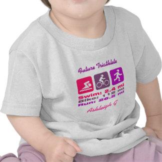 Lady Triathlete Swim Bike Run Pink Mauve Purple T-shirt