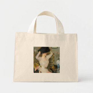Lady Trying on a Hat by Frank W Benson Tote Bag