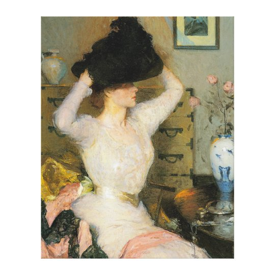 Lady Trying on a Hat, by Frank W. Benson Canvas Print