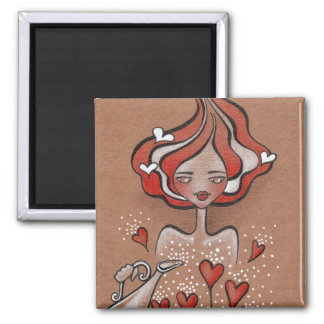 Lady Valentine 2 Inch Square Magnet