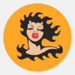 Lady Vampire Classic Round Sticker