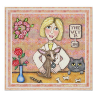 Lady Vet With Dog and Cat Poster