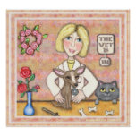 Lady Vet With Dog and Cat Print