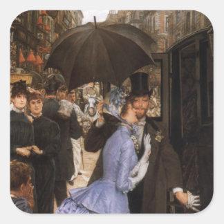 Lady Victorian Traveler Square Sticker