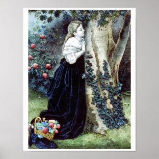 Lady Waiting Vintage Illustration Poster