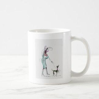 Lady Walking a Dog Coffee Mug
