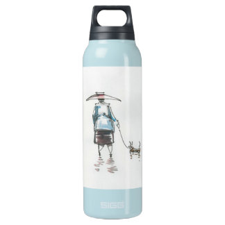 Lady Walking A Dog Liberty Insulated Water Bottle
