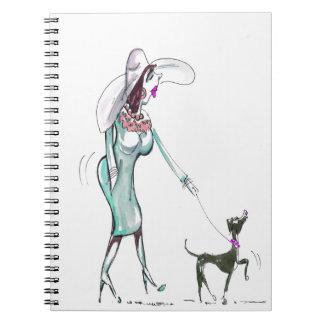 Lady Walking a Dog Notebook
