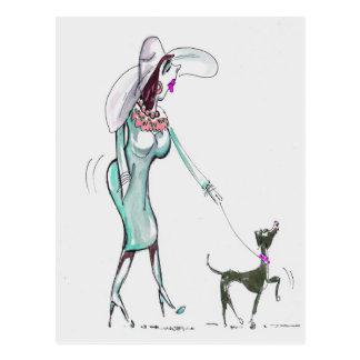 Lady Walking a Dog Postcard