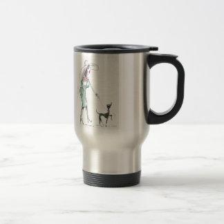Lady Walking a Dog Travel Mug