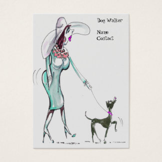 Lady Walking Dog Jubby Business Cards