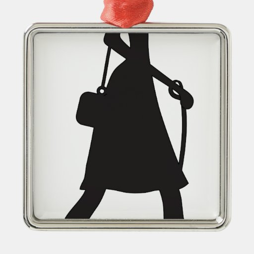 Lady Walking Puppy Silhouette Square Metal Christmas Ornament