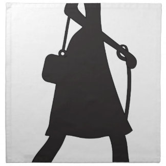 Lady Walking Puppy Silhouette Printed Napkin