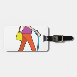 Lady Walking Puppy Tag For Luggage