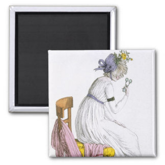 Lady wearing a negligee, from 'Costume Parisien', 2 Inch Square Magnet