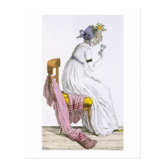 Lady wearing a negligee, from 'Costume Parisien', Postcard