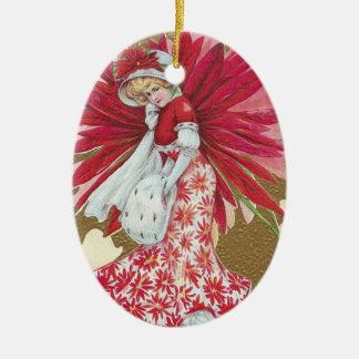 Lady Wearing Poinsettia Dress Vintage Christmas Ceramic Ornament
