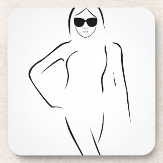 Lady wearing shades and swim suit beverage coaster