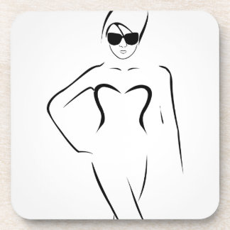 Lady wearing shades and swim suit drink coaster