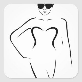 Lady wearing shades and swim suit square sticker