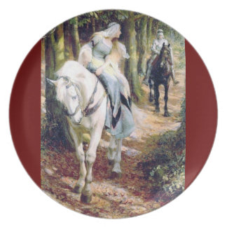 Lady white horse knight in the forest melamine plate