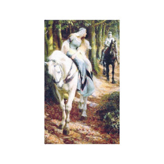 Lady white horse medieval knight painting gallery wrapped canvas