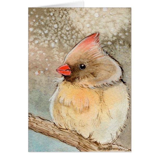 Lady Winter Cardinal Card