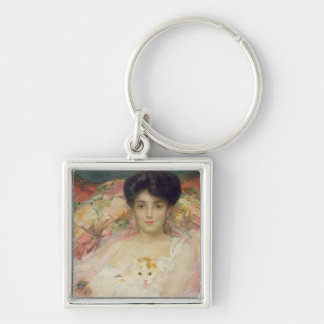 Lady with a Cat, 1904 Silver-Colored Square Keychain