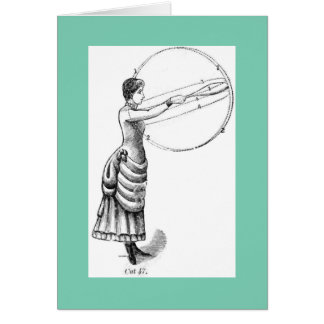Lady with a club! Vintage physical culture image Card