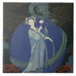 """Lady with a Dragon (colour litho) Ceramic Tile<br><div class=""""desc"""">Image:133206  Lady with a Dragon (colour litho). Barbier,  Georges (1882-1932). Private Collection,  The Stapleton Collection.  Art,  Fine Art.</div>"""
