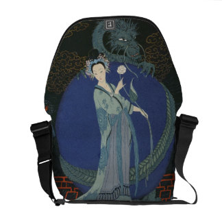 Lady with a Dragon (colour litho) Courier Bag