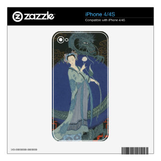 Lady with a Dragon colour litho iPhone 4S Skins