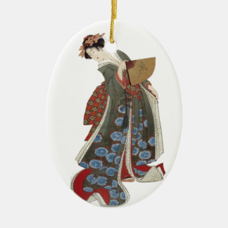 Lady with a Fan Ceramic Ornament