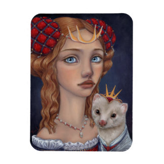 Lady with a Ferret Rectangular Photo Magnet