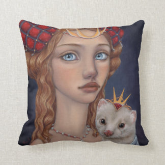 Lady with a Ferret Throw Pillow