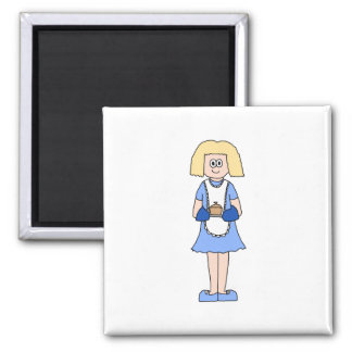 Lady with a Hot Dish of Food. In Blue. 2 Inch Square Magnet