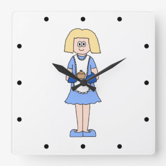 Lady with a Hot Dish of Food. In Blue. Wall Clocks