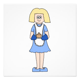 Lady with a Hot Dish of Food. In Blue. Custom Announcements