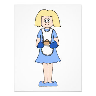 Lady with a Hot Dish of Food. In Blue. Custom Invites