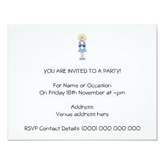 Lady with a Hot Dish of Food. In Blue. 4.25x5.5 Paper Invitation Card