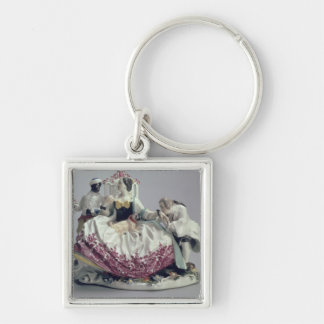 Lady with a lapdog, man and black servant, 1737 keychain