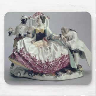 Lady with a lapdog, man and black servant, 1737 mouse pad