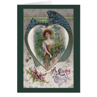 Lady with a Loving Thought Vintage Romance Card