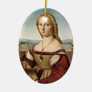Lady with a Unicorn Christmas Ornament