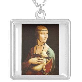 Lady with an Ermine by Leonardo Da Vinci c. 1490 Square Pendant Necklace