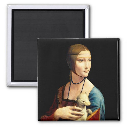 Lady with an Ermine by Leonardo Da Vinci Magnet