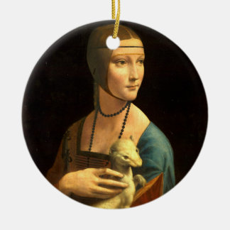 Lady with an Ermine Ceramic Ornament
