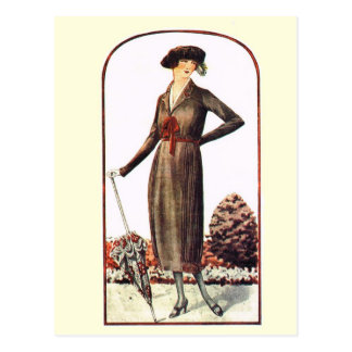 Lady with an umbrella postcard