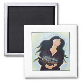 Lady with Basket of Fish. 2 Inch Square Magnet