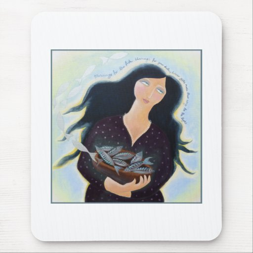 Lady with Basket of Fish. Mouse Pad